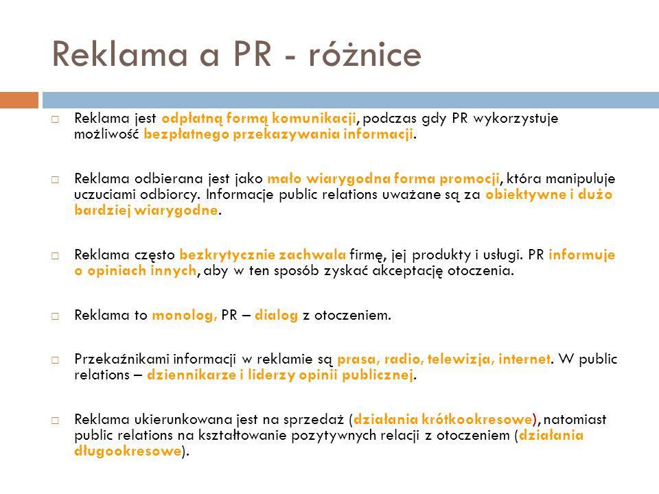 Reklama a PR - różnice Reklama jest odpłatną formą komunikacji, podczas gdy PR wykorzystuje możliwość bezpłatnego przekazywania informacji.