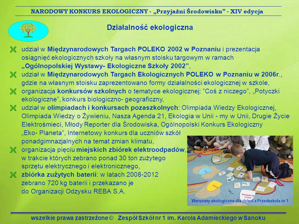 """NARODOWY KONKURS EKOLOGICZNY - """"Przyjaźni Środowisku - XIV edycja"""