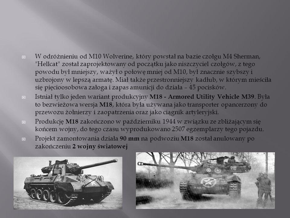 W odróżnieniu od M10 Wolverine, który powstał na bazie czołgu M4 Sherman, Hellcat został zaprojektowany od początku jako niszczyciel czołgów, z tego powodu był mniejszy, ważył o połowę mniej od M10, był znacznie szybszy i uzbrojony w lepszą armatę. Miał także przestronniejszy kadłub, w którym mieściła się pięcioosobowa załoga i zapas amunicji do działa – 45 pocisków.