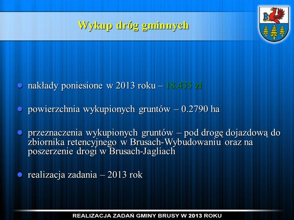 Wykup dróg gminnych nakłady poniesione w 2013 roku – 18.435 zł