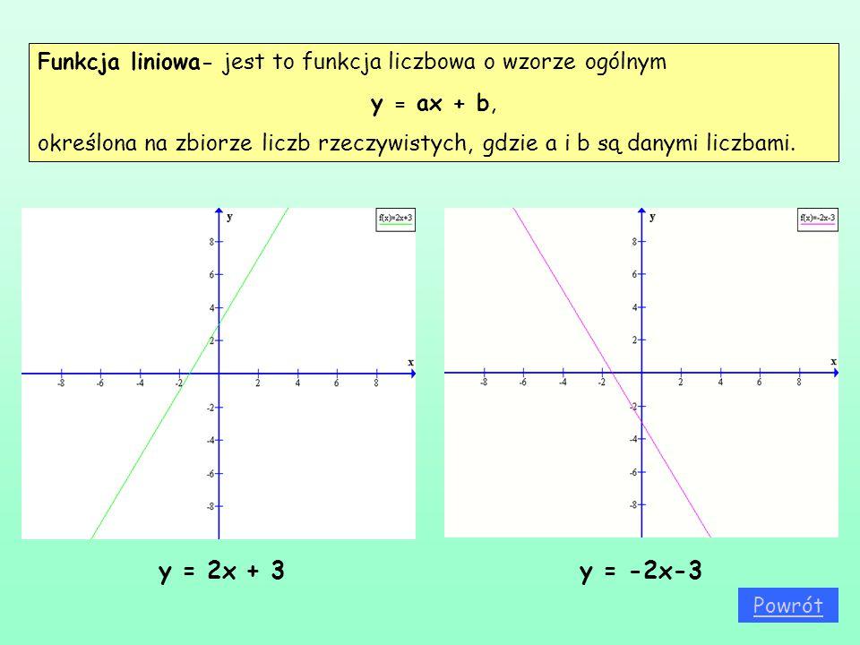 Funkcja liniowa- jest to funkcja liczbowa o wzorze ogólnym