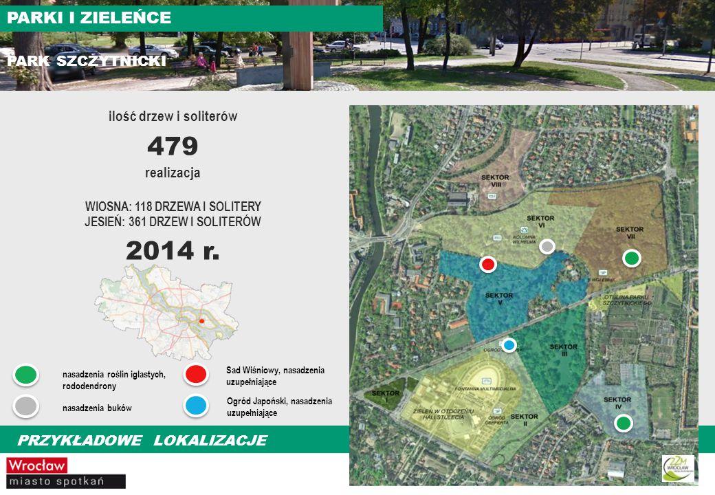 479 2014 r. PARKI I ZIELEŃCE PARK SZCZYTNICKI ilość drzew i soliterów