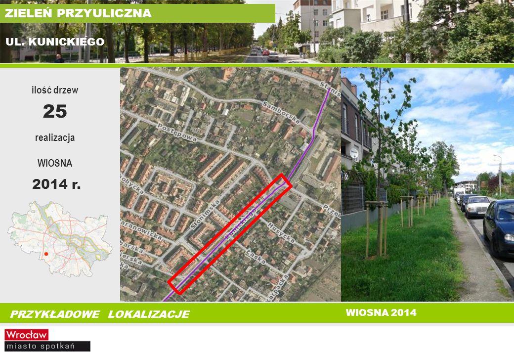 25 2014 r. ZIELEŃ PRZYULICZNA UL. KUNICKIEGO ilość drzew realizacja