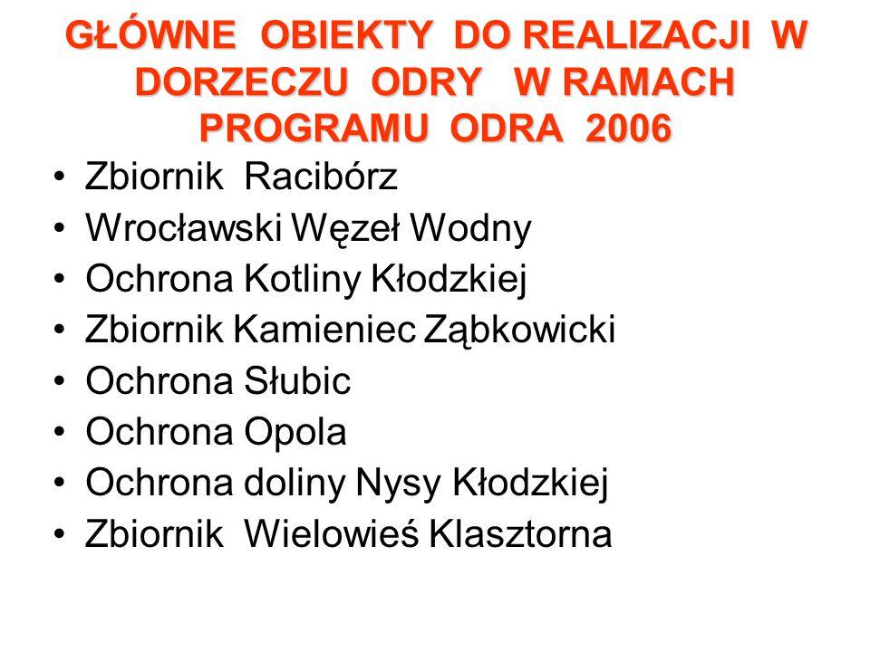 GŁÓWNE OBIEKTY DO REALIZACJI W DORZECZU ODRY W RAMACH PROGRAMU ODRA 2006
