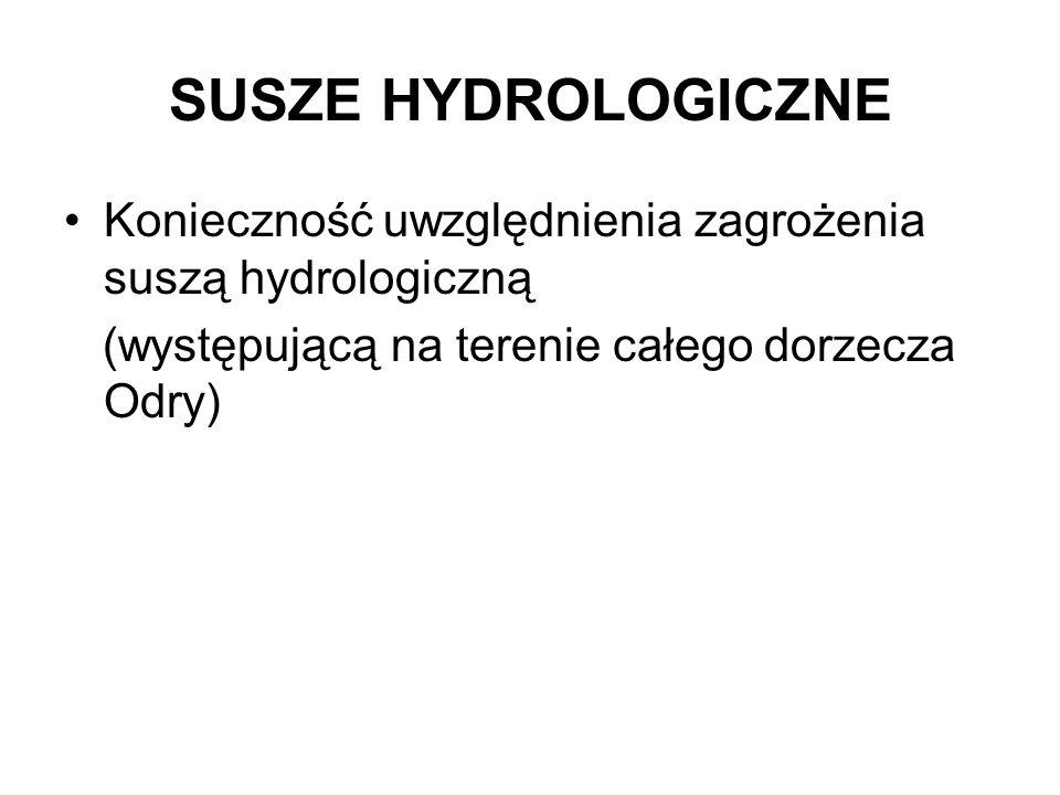 SUSZE HYDROLOGICZNE Konieczność uwzględnienia zagrożenia suszą hydrologiczną.