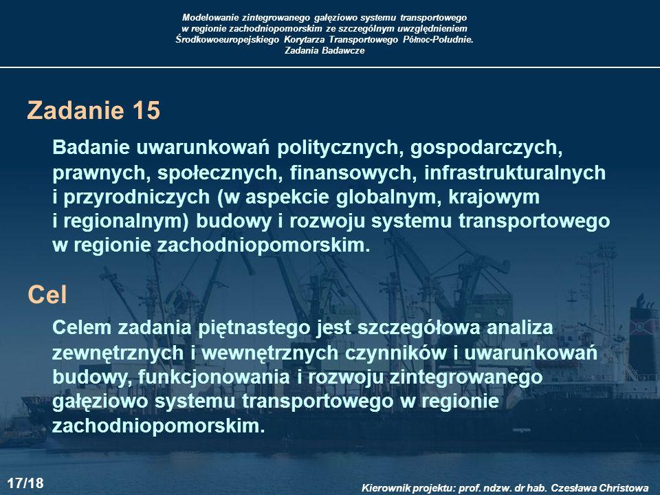 Zadanie 15 Badanie uwarunkowań politycznych, gospodarczych, prawnych, społecznych, finansowych, infrastrukturalnych.