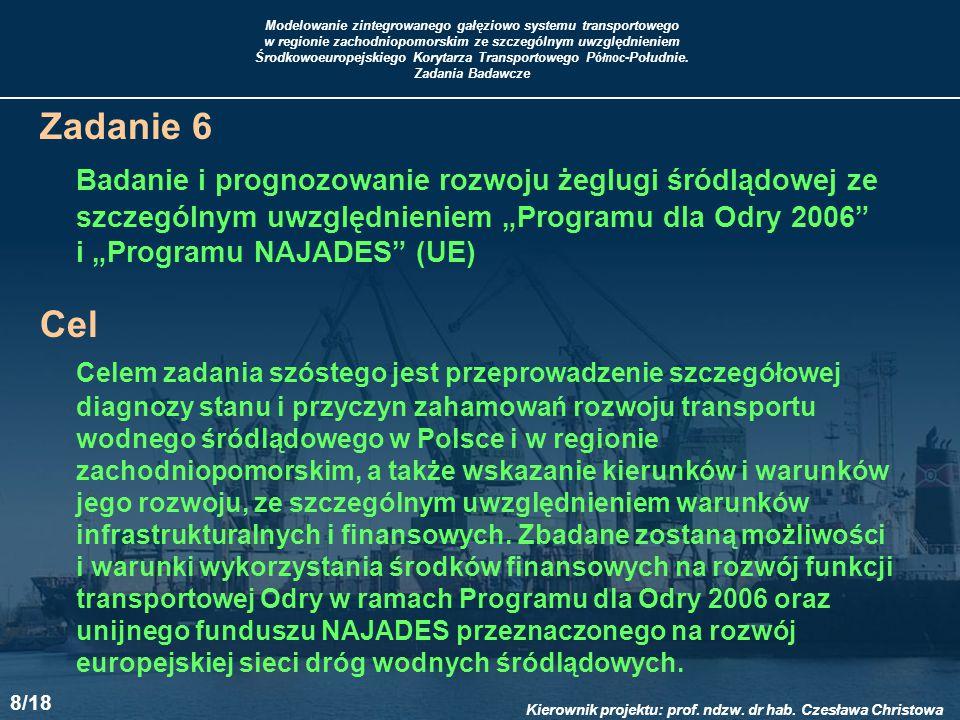 """Zadanie 6 Badanie i prognozowanie rozwoju żeglugi śródlądowej ze szczególnym uwzględnieniem """"Programu dla Odry 2006"""