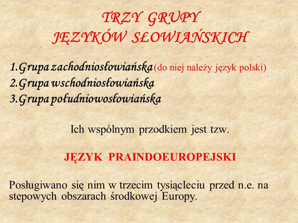 TRZY GRUPY JĘZYKÓW SŁOWIAŃSKICH