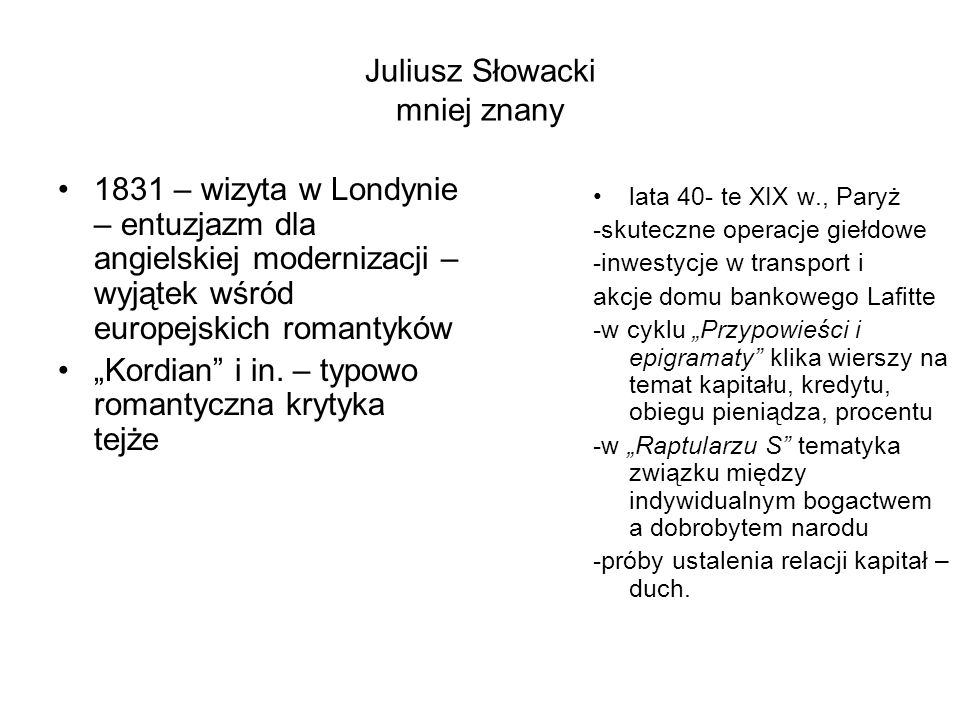 Juliusz Słowacki mniej znany