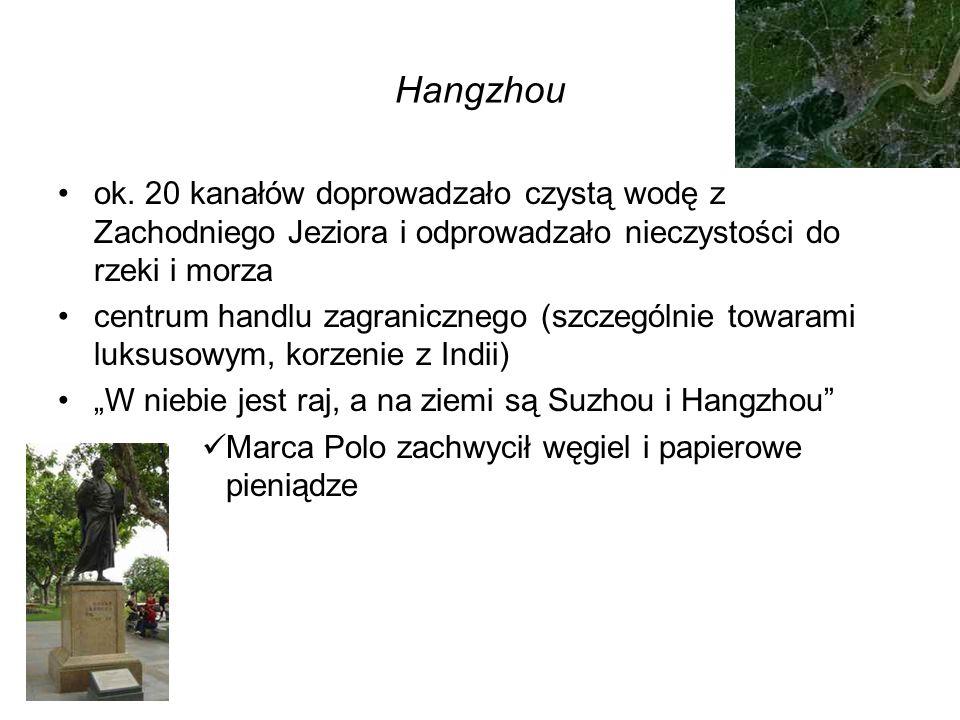Hangzhou ok. 20 kanałów doprowadzało czystą wodę z Zachodniego Jeziora i odprowadzało nieczystości do rzeki i morza.