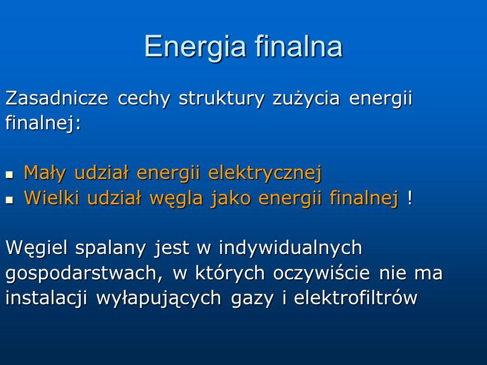 Energia finalna Zasadnicze cechy struktury zużycia energii finalnej:
