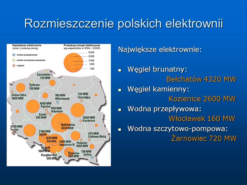 Rozmieszczenie polskich elektrownii