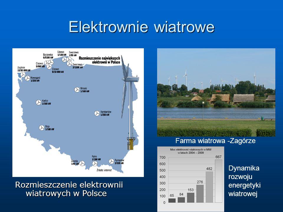 Elektrownie wiatrowe Rozmieszczenie elektrownii wiatrowych w Polsce