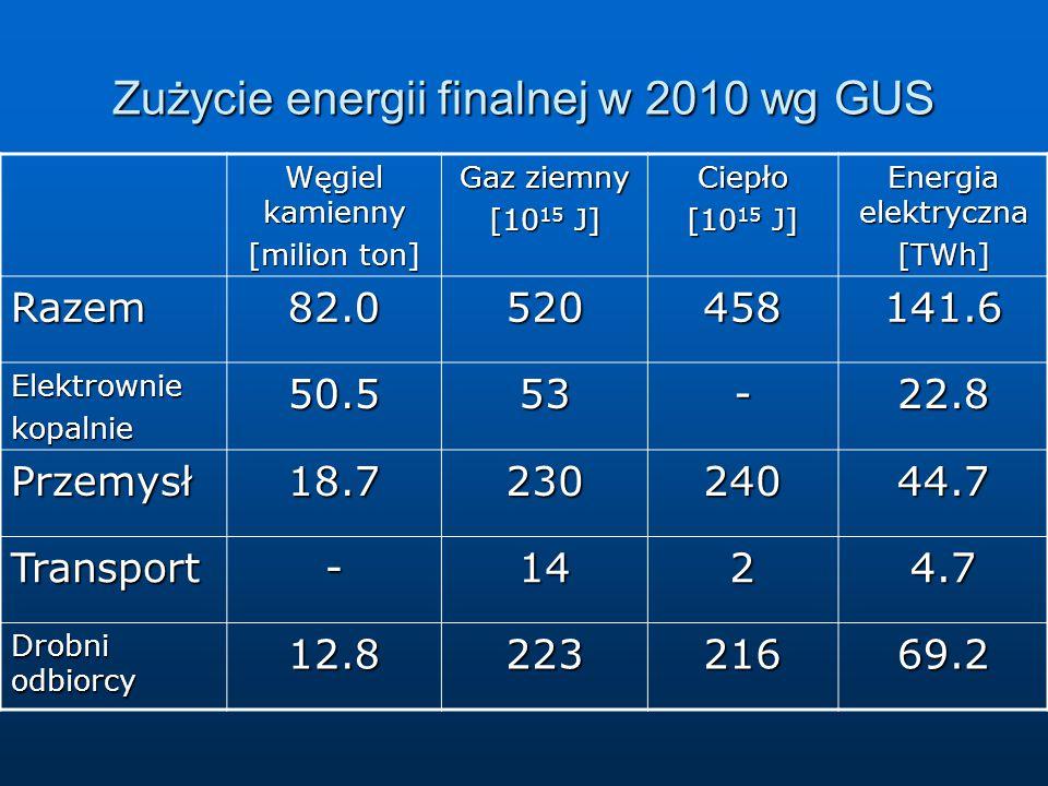 Zużycie energii finalnej w 2010 wg GUS