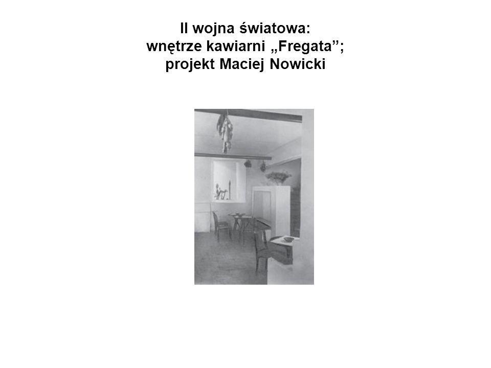 """II wojna światowa: wnętrze kawiarni """"Fregata ; projekt Maciej Nowicki"""