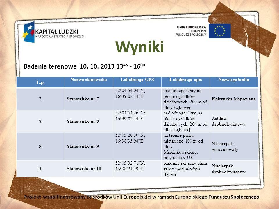 Wyniki Badania terenowe 10. 10. 2013 1345 - 1600 L.p. Nazwa stanowiska