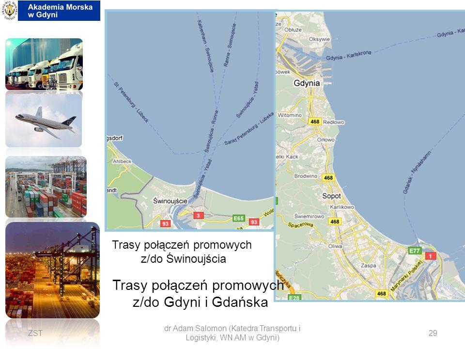 Trasy połączeń promowych z/do Gdyni i Gdańska