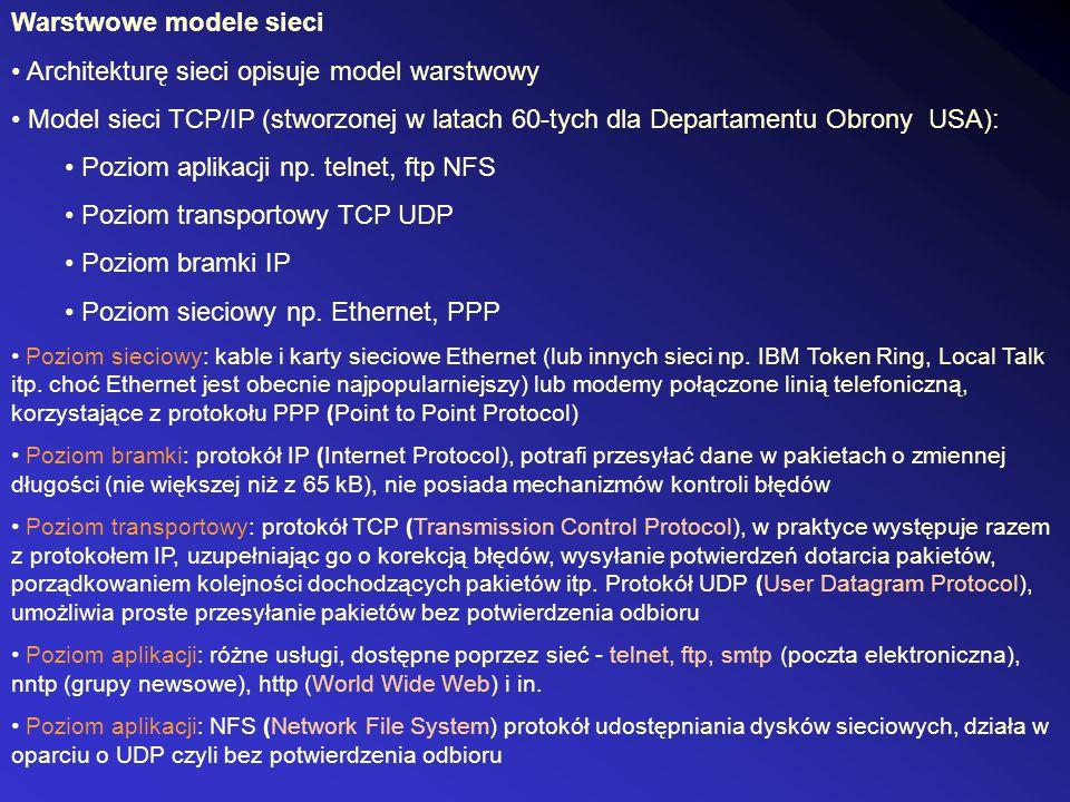 Warstwowe modele sieci • Architekturę sieci opisuje model warstwowy