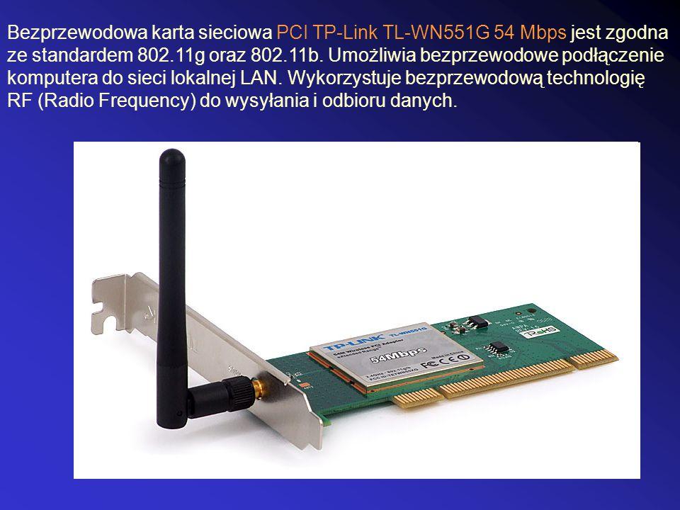 Bezprzewodowa karta sieciowa PCI TP-Link TL-WN551G 54 Mbps jest zgodna ze standardem 802.11g oraz 802.11b.