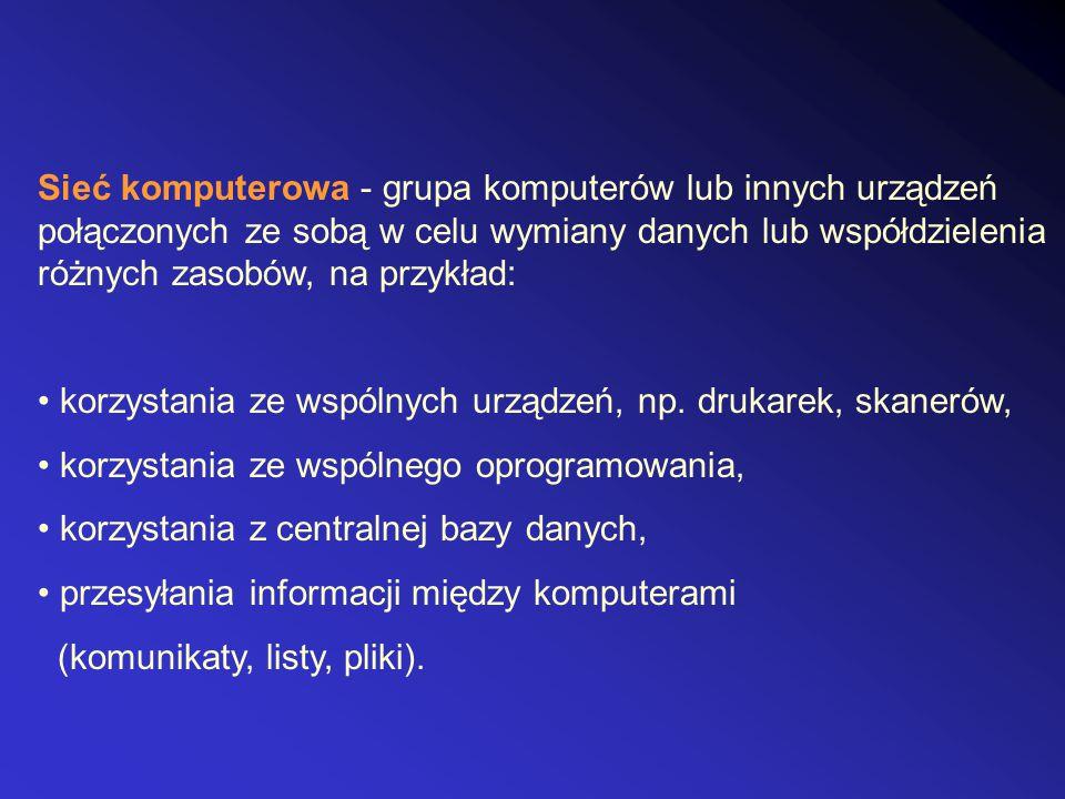 Sieć komputerowa - grupa komputerów lub innych urządzeń połączonych ze sobą w celu wymiany danych lub współdzielenia różnych zasobów, na przykład: