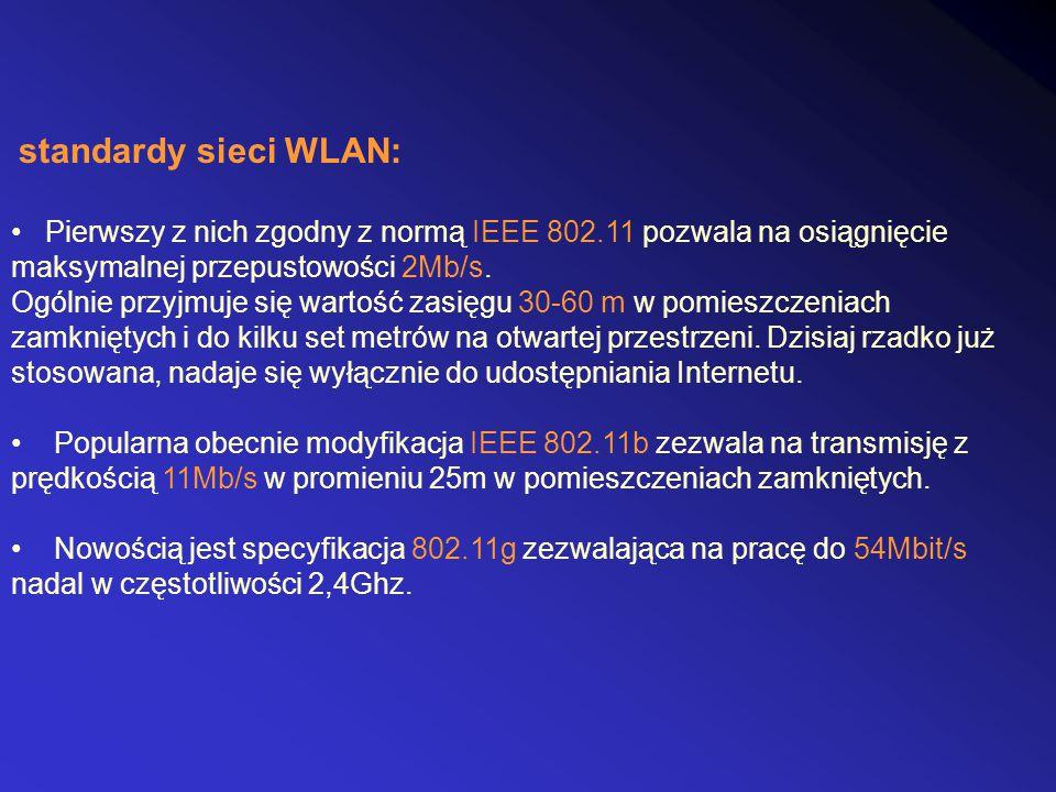 standardy sieci WLAN: Pierwszy z nich zgodny z normą IEEE 802.11 pozwala na osiągnięcie. maksymalnej przepustowości 2Mb/s.