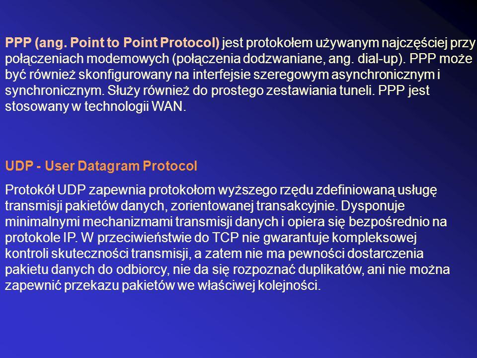 PPP (ang. Point to Point Protocol) jest protokołem używanym najczęściej przy połączeniach modemowych (połączenia dodzwaniane, ang. dial-up). PPP może być również skonfigurowany na interfejsie szeregowym asynchronicznym i synchronicznym. Służy również do prostego zestawiania tuneli. PPP jest stosowany w technologii WAN.