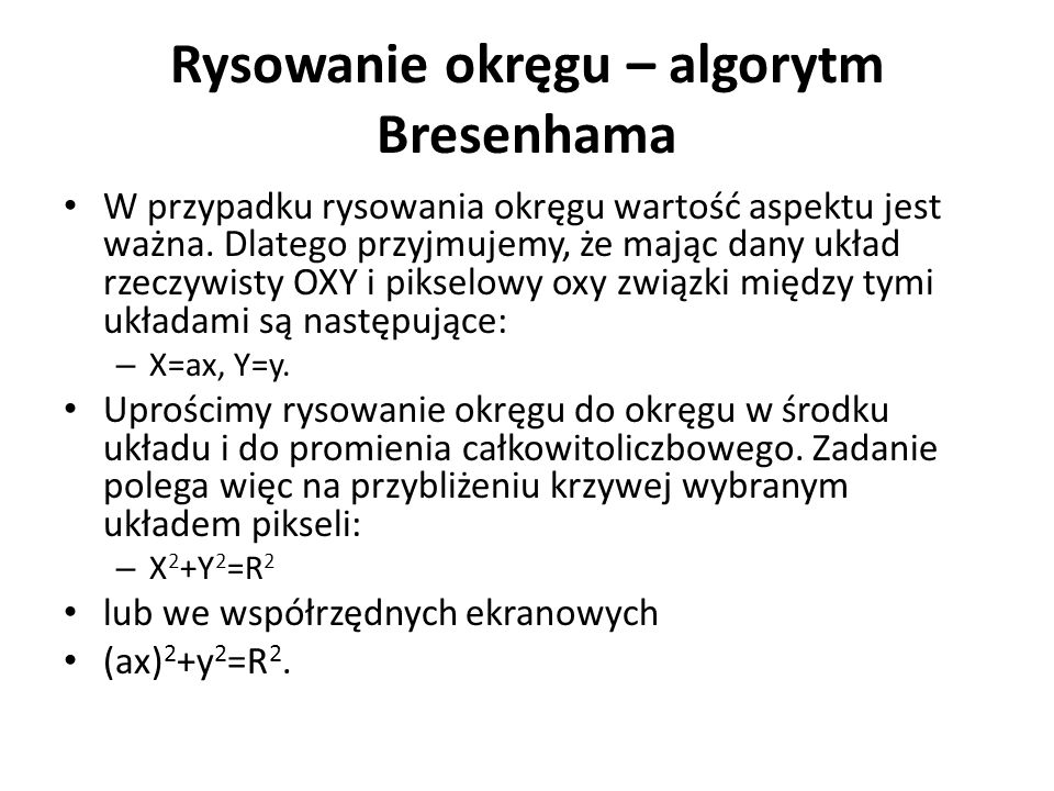 Rysowanie okręgu – algorytm Bresenhama