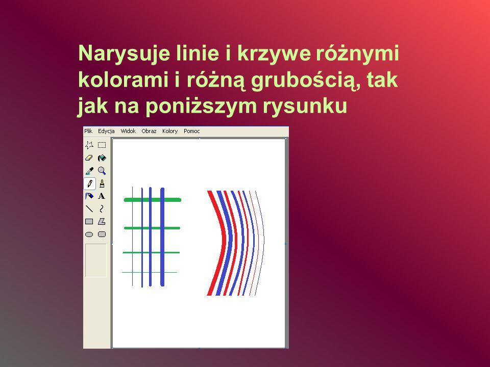 Narysuje linie i krzywe różnymi kolorami i różną grubością, tak jak na poniższym rysunku