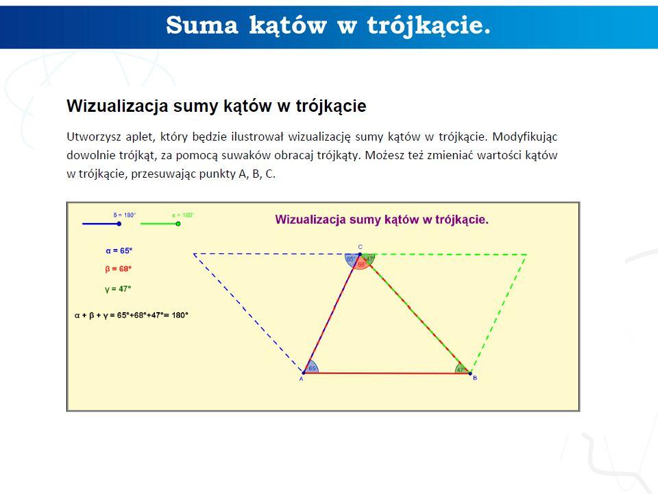Suma kątów w trójkącie.