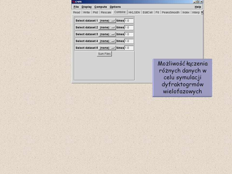 Możliwość łączenia różnych danych w celu symulacji dyfraktogrmów wielofazowych
