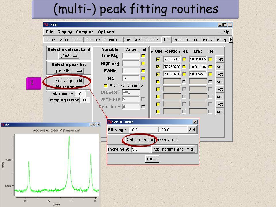 (multi-) peak fitting routines