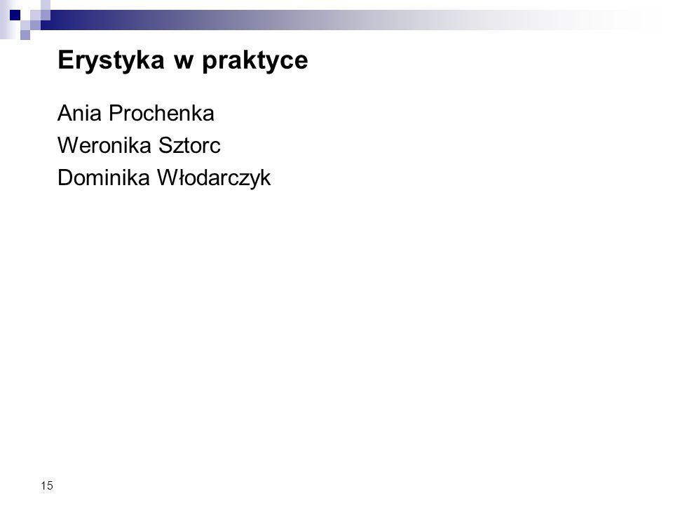 Erystyka w praktyce Ania Prochenka Weronika Sztorc Dominika Włodarczyk