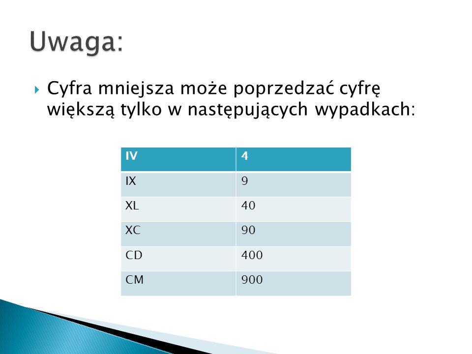 Uwaga: Cyfra mniejsza może poprzedzać cyfrę większą tylko w następujących wypadkach: IV. 4. IX.