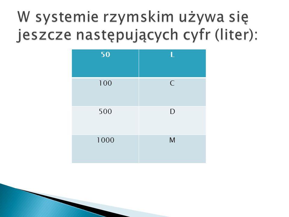 W systemie rzymskim używa się jeszcze następujących cyfr (liter):