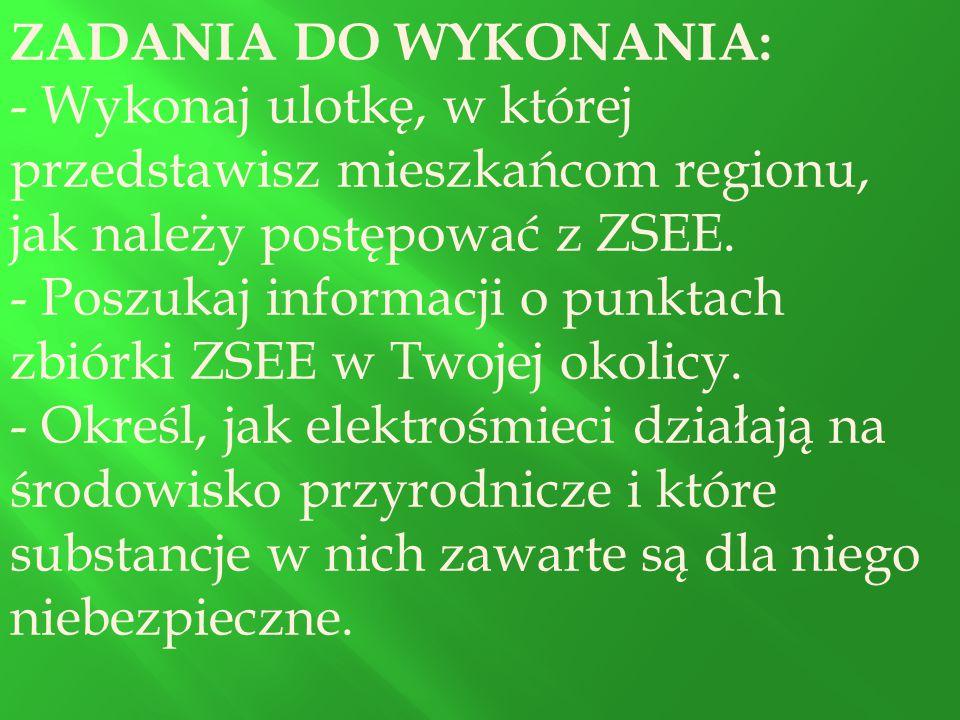 ZADANIA DO WYKONANIA: Wykonaj ulotkę, w której przedstawisz mieszkańcom regionu, jak należy postępować z ZSEE.