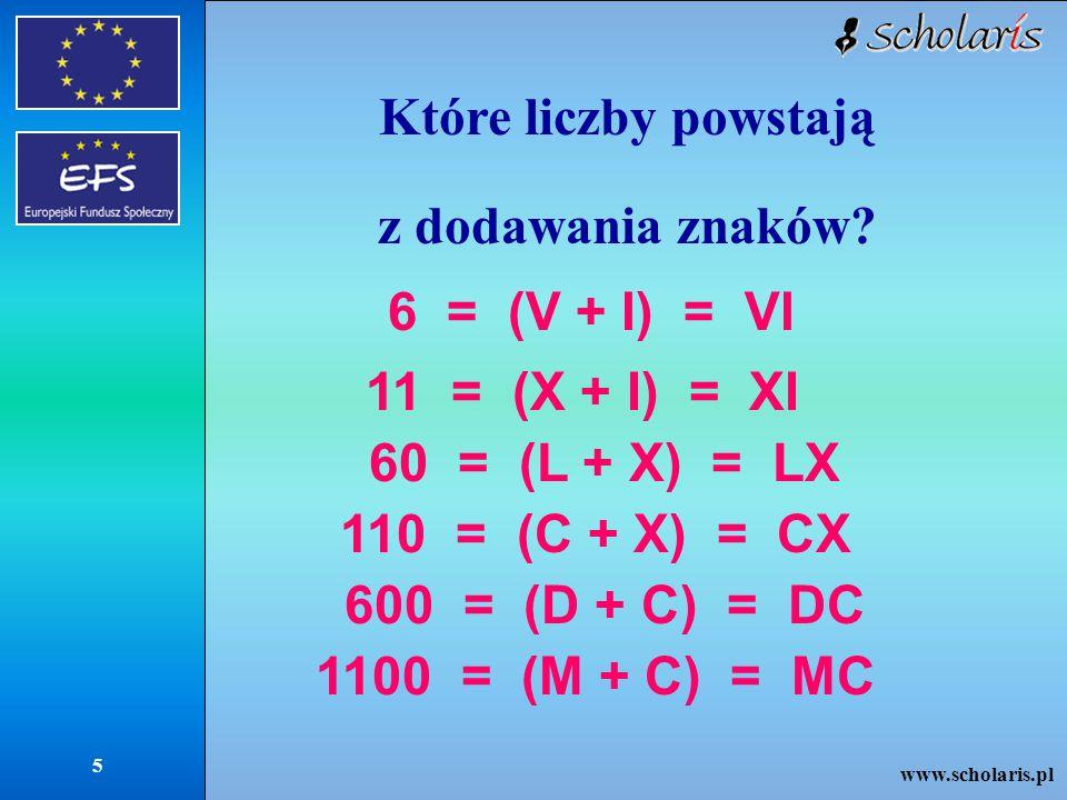 Które liczby powstają z dodawania znaków 11 = (X + I) = XI
