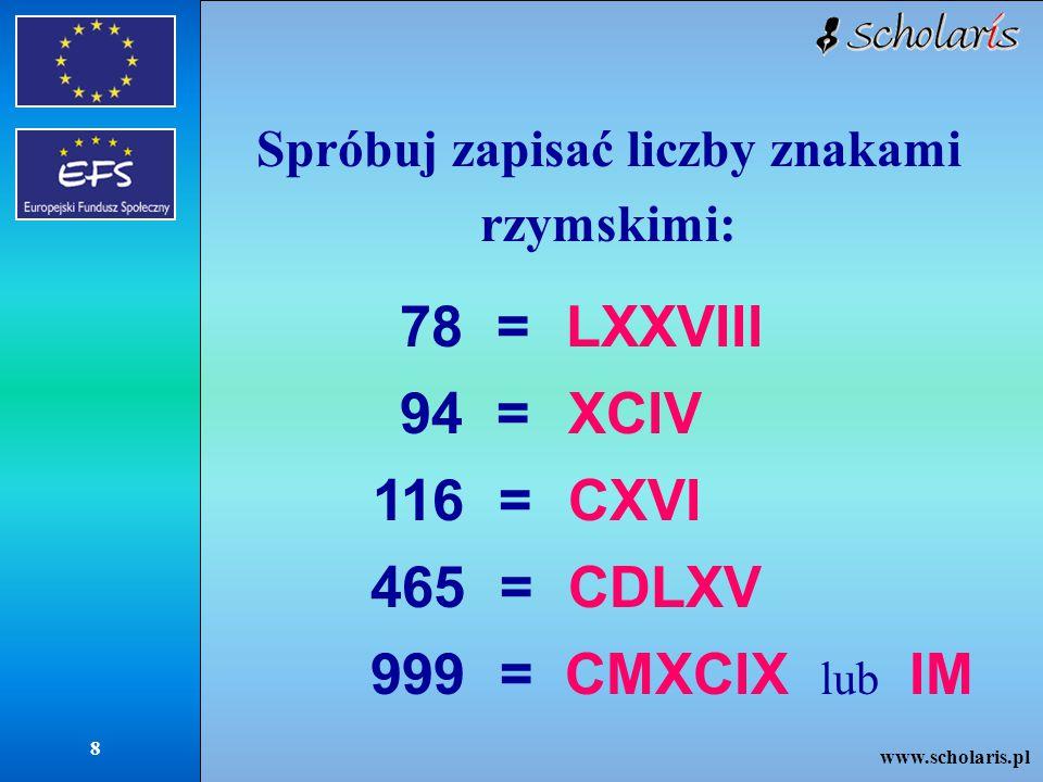 Spróbuj zapisać liczby znakami rzymskimi: