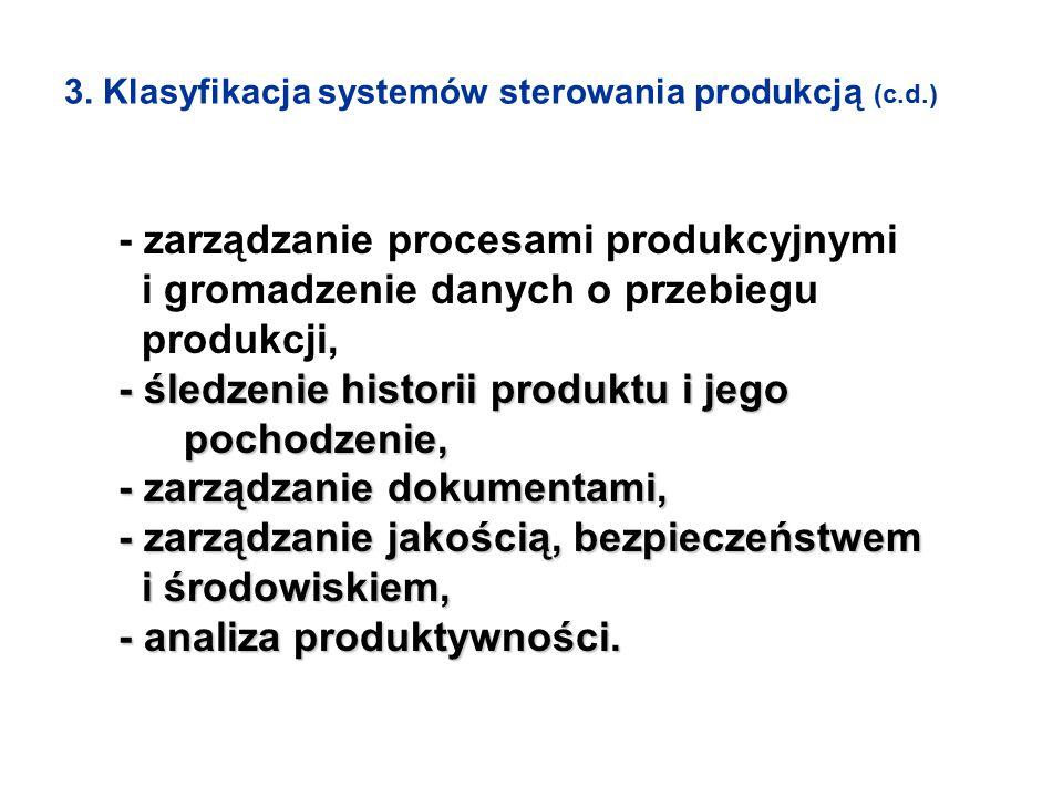 - zarządzanie procesami produkcyjnymi i gromadzenie danych o przebiegu