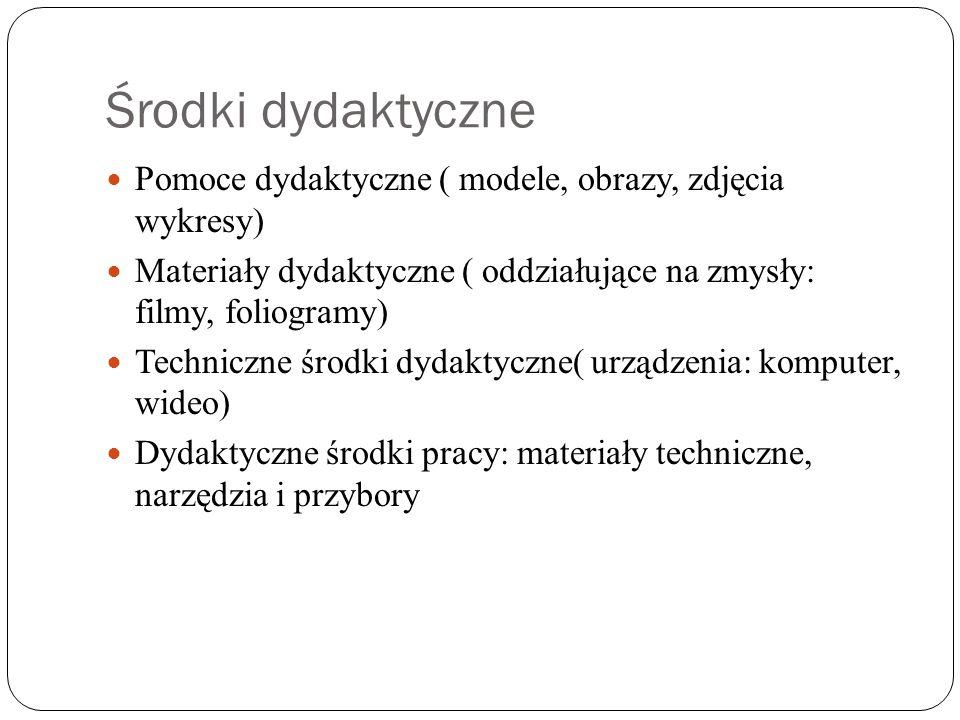 Środki dydaktyczne Pomoce dydaktyczne ( modele, obrazy, zdjęcia wykresy) Materiały dydaktyczne ( oddziałujące na zmysły: filmy, foliogramy)