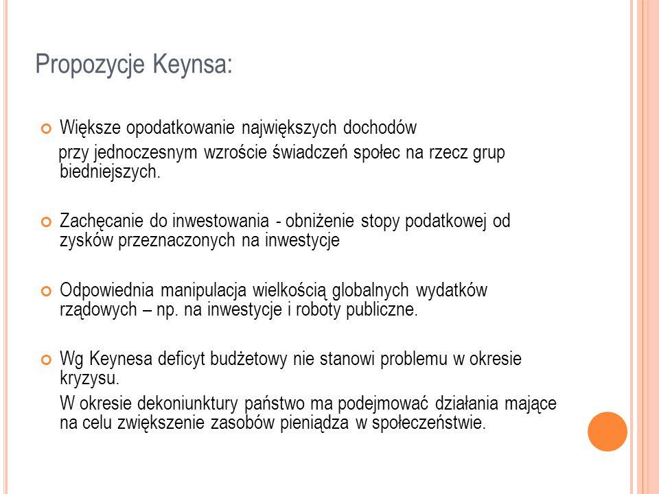 Propozycje Keynsa: Większe opodatkowanie największych dochodów