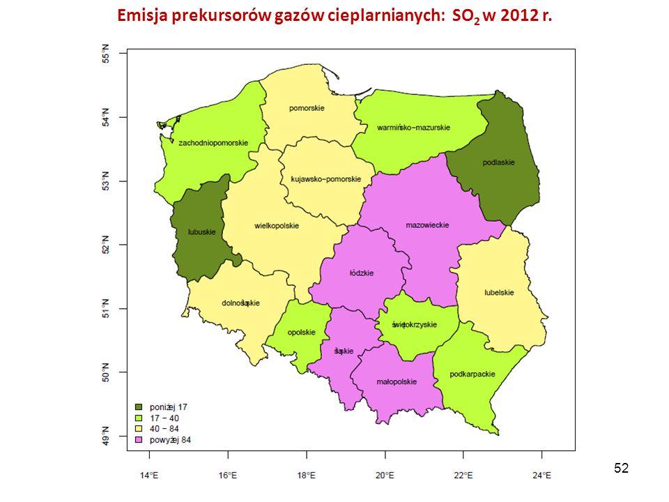 Emisja prekursorów gazów cieplarnianych: SO2 w 2012 r.