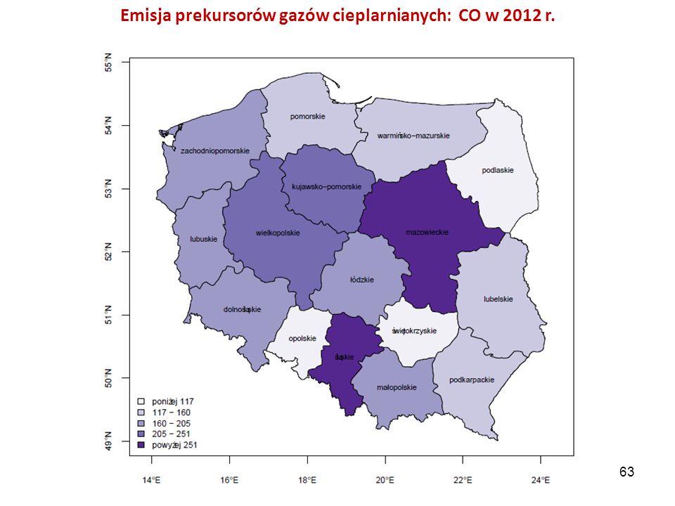 Emisja prekursorów gazów cieplarnianych: CO w 2012 r.