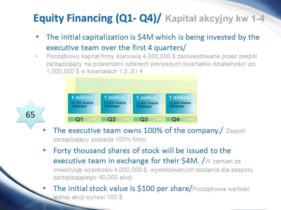 Equity Financing (Q1- Q4)/ Kapitał akcyjny kw 1-4