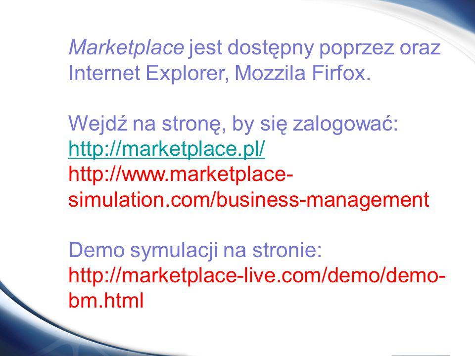 Marketplace jest dostępny poprzez oraz Internet Explorer, Mozzila Firfox.