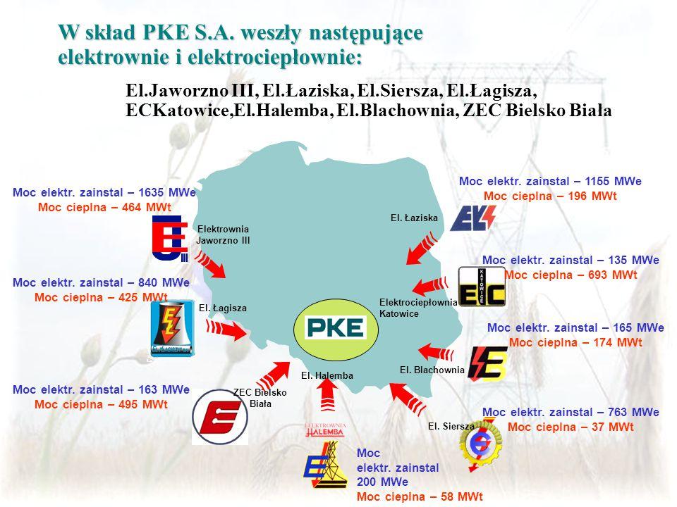W skład PKE S.A. weszły następujące elektrownie i elektrociepłownie: