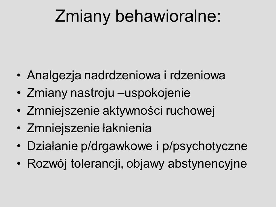 Zmiany behawioralne: Analgezja nadrdzeniowa i rdzeniowa
