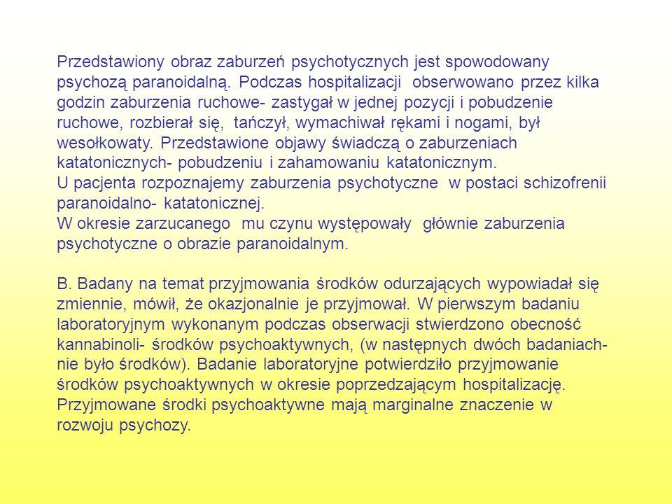 Przedstawiony obraz zaburzeń psychotycznych jest spowodowany psychozą paranoidalną.