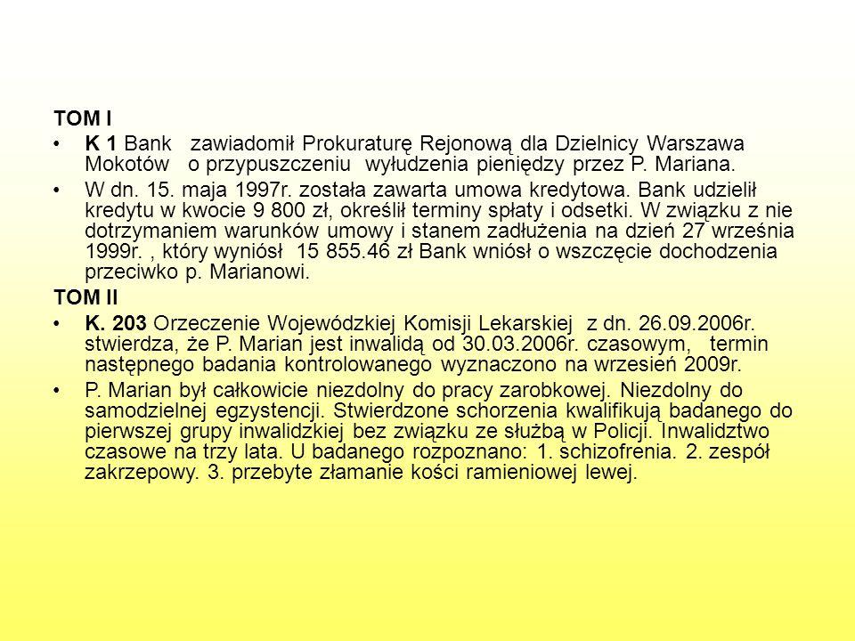 TOM I K 1 Bank zawiadomił Prokuraturę Rejonową dla Dzielnicy Warszawa Mokotów o przypuszczeniu wyłudzenia pieniędzy przez P. Mariana.
