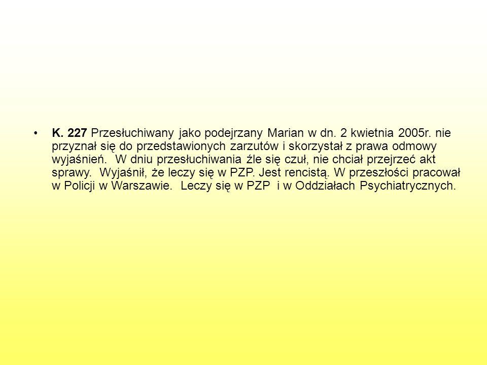 K. 227 Przesłuchiwany jako podejrzany Marian w dn. 2 kwietnia 2005r