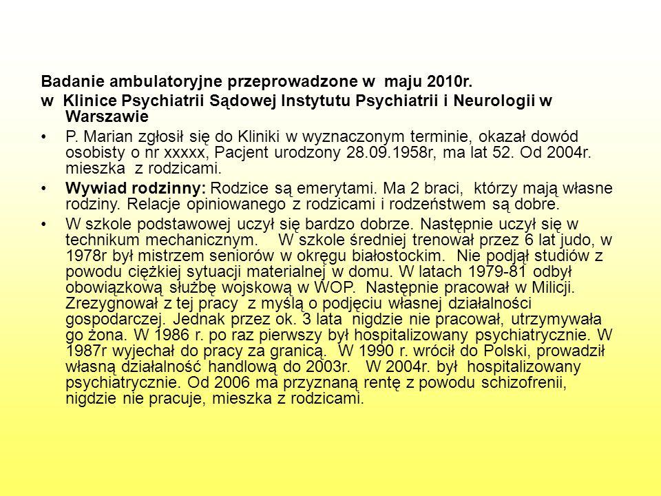 Badanie ambulatoryjne przeprowadzone w maju 2010r.